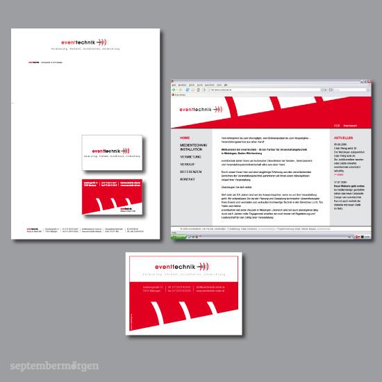 """Beispiel eines von mir entwickelten Corporate Designs für die Firma """"eventechnik"""". Zu sehen: Logo, Visitenkarten, Briefbogen, Anzeige, Website."""