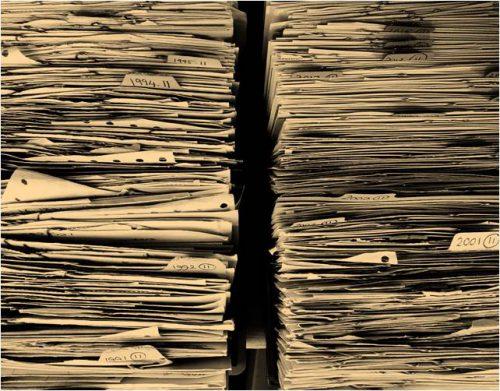 Das Büro eine Welt aus Papier